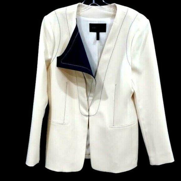 BCBGMAXAZRIA tunic ivory blazer jacket zip cover